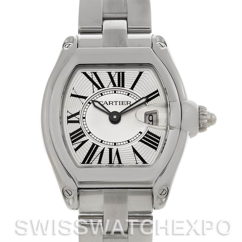 4581  Cartier Roadster Ladies Stainless Steel Silver Dial Watch W62016V3 SwissWatchExpo