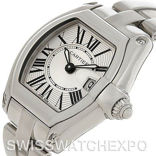 4594  Cartier Roadster Ladies Stainless Steel Silver Dial Watch W62016V3 SwissWatchExpo