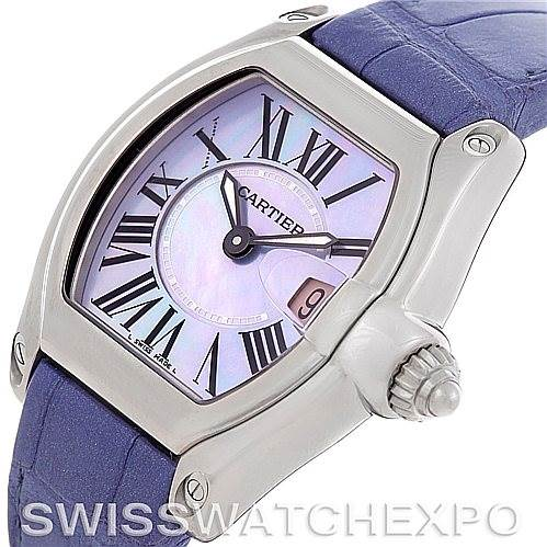 5167 Cartier Roadster Ladies Mother of Pearl Dial Steel Watch W6206007 NOS SwissWatchExpo