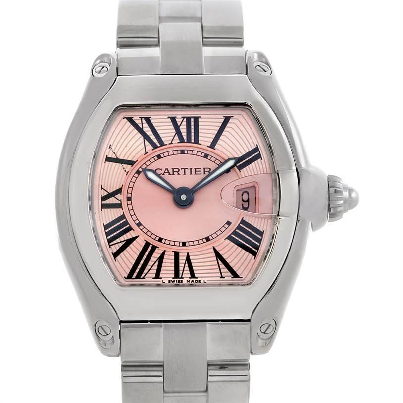 5762 Cartier Roadster Ladies Pink Dial Watch W62017V3 SwissWatchExpo