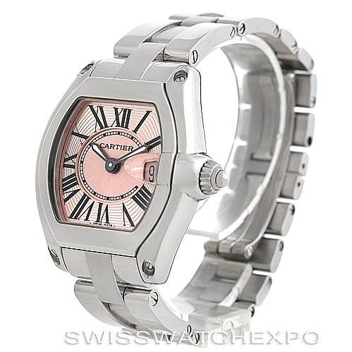 6068 Cartier Roadster Ladies Pink Dial Watch W62017V3 SwissWatchExpo
