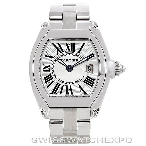 6071 Cartier Roadster Ladies Steel Watch W62016V3 SwissWatchExpo