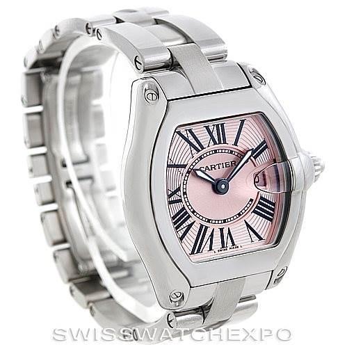 6072 Cartier Roadster Ladies Pink Dial Watch W62017V3 SwissWatchExpo