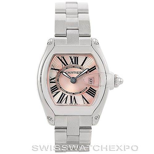 6462 Cartier Roadster Ladies Pink Dial Watch W62017V3 SwissWatchExpo