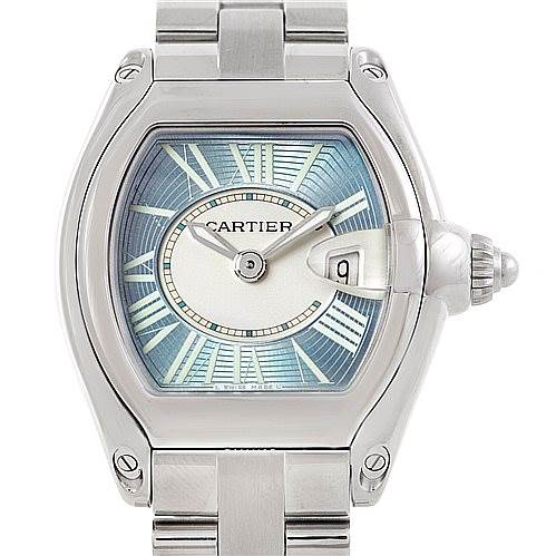 6811 Cartier Roadster Ladies Blue Dial Steel Watch W62053V3 SwissWatchExpo