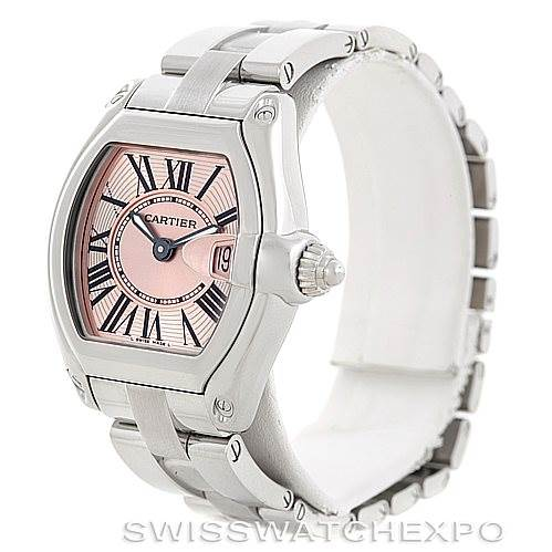6502 Cartier Roadster Ladies Pink Dial Watch W62017V3 SwissWatchExpo