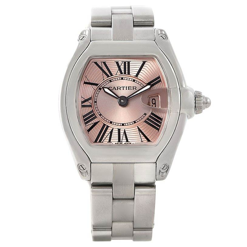 7337 Cartier Roadster Ladies Pink Dial Watch W62017V3 SwissWatchExpo