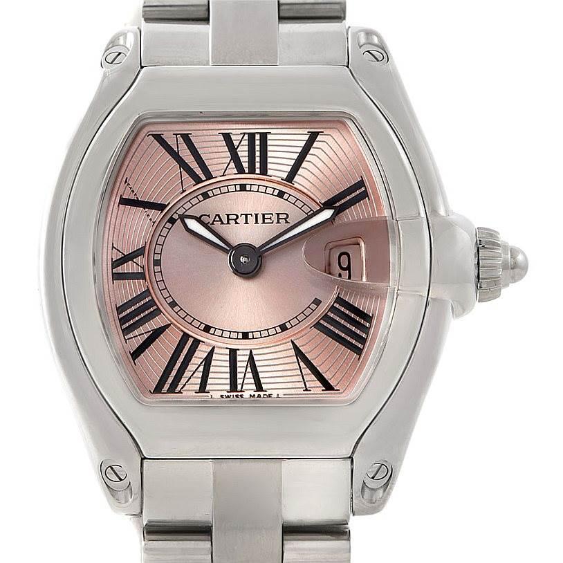 7337 Cartier Roadster Ladies Pink Dial Watch W62017V3 SwissWatchExpo