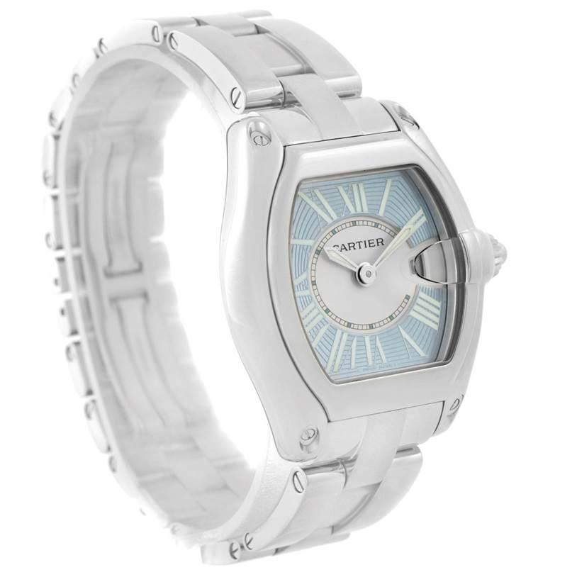 7609 Cartier Roadster Ladies Blue Dial Steel Watch W62053V3 SwissWatchExpo