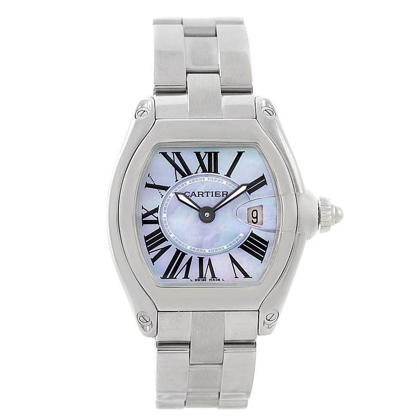 7733 Cartier Roadster Ladies Mother of Pearl Dial Steel Watch W6206007  SwissWatchExpo