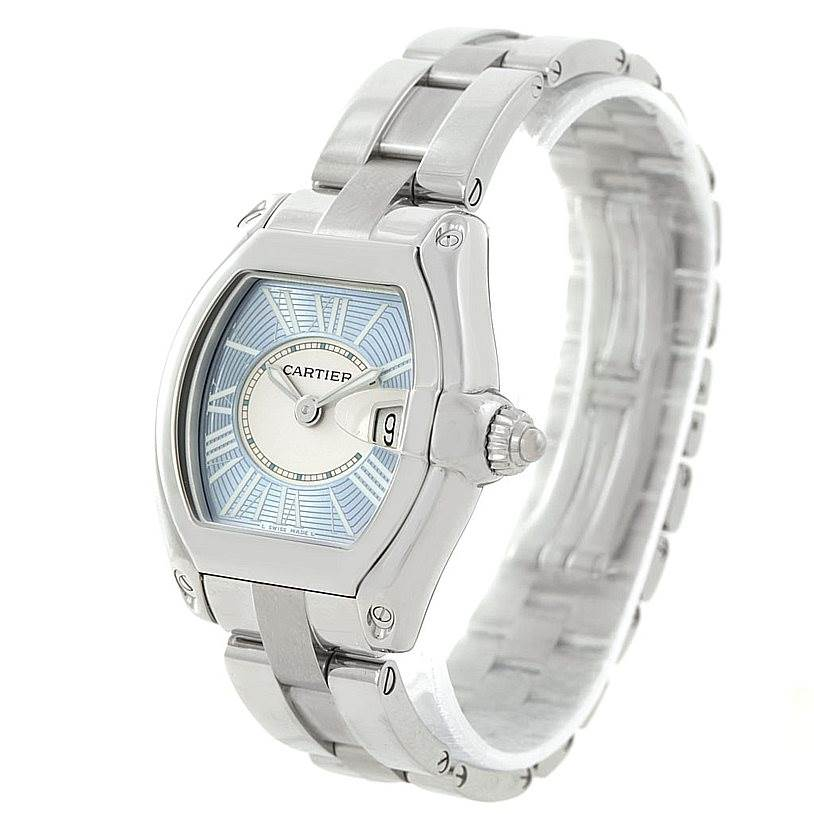 7773 Cartier Roadster Ladies Blue Dial Steel Watch W62053V3 SwissWatchExpo