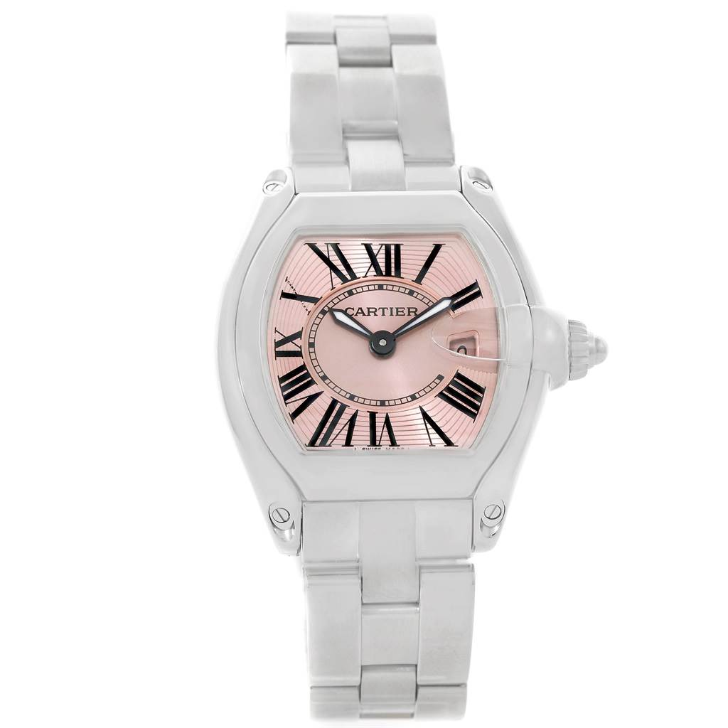 7772A Cartier Roadster Ladies Pink Dial Watch W62017V3 SwissWatchExpo