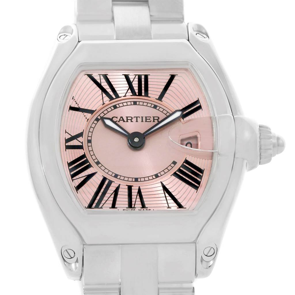 7772 Cartier Roadster Ladies Pink Dial Watch W62017V3 SwissWatchExpo