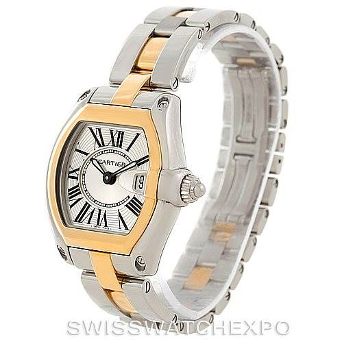 7804 Cartier Roadster Ladies Yellow Gold Steel Watch W62026Y4 SwissWatchExpo