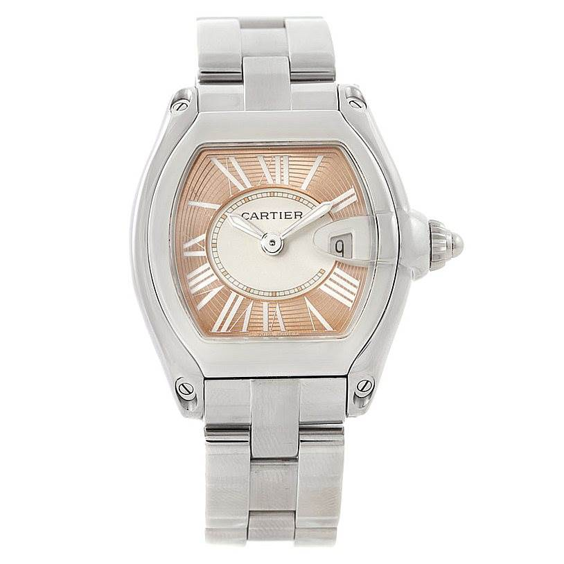 7817 Cartier Roadster Ladies Coral Dial Limited Edition Watch W62054V3 SwissWatchExpo
