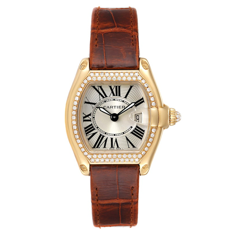 Cartier Roadster Ladies 18K Yellow Gold Diamond Watch WE500160 SwissWatchExpo