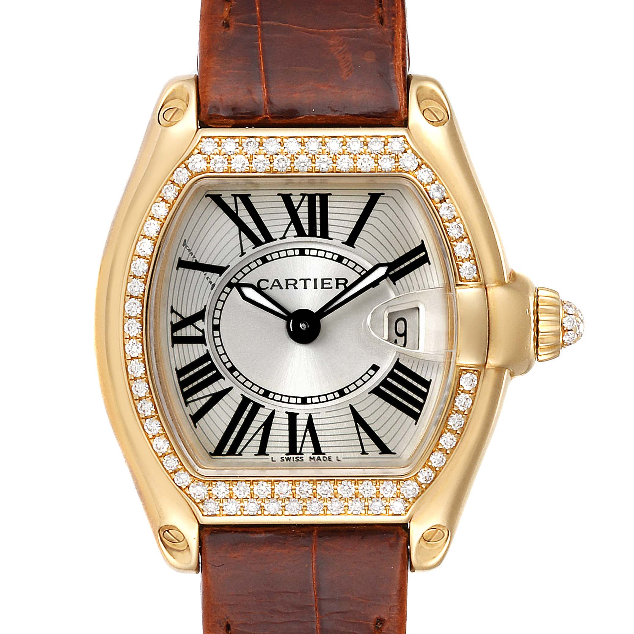 Cartier Roadster Ladies 18K Yellow Gold Diamond Watch WE500160