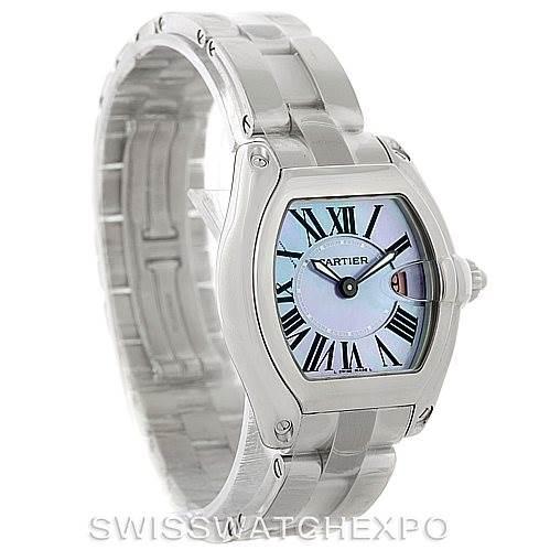 8161 Cartier Roadster Ladies Mother of Pearl Steel Watch W6206007 Unworn SwissWatchExpo