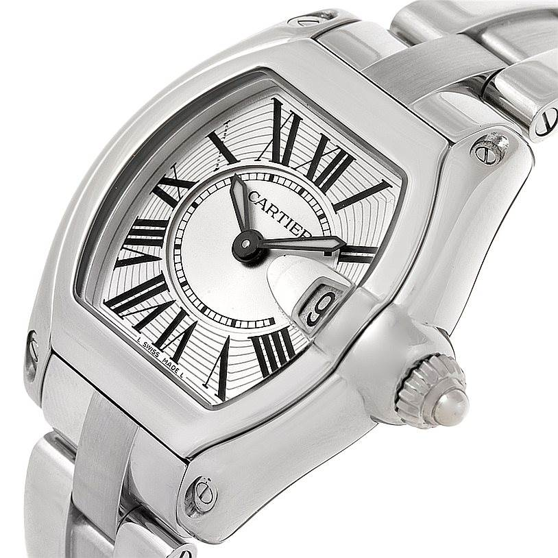 8408 Cartier Roadster Silver Dial Ladies Steel Watch W62016V3 SwissWatchExpo