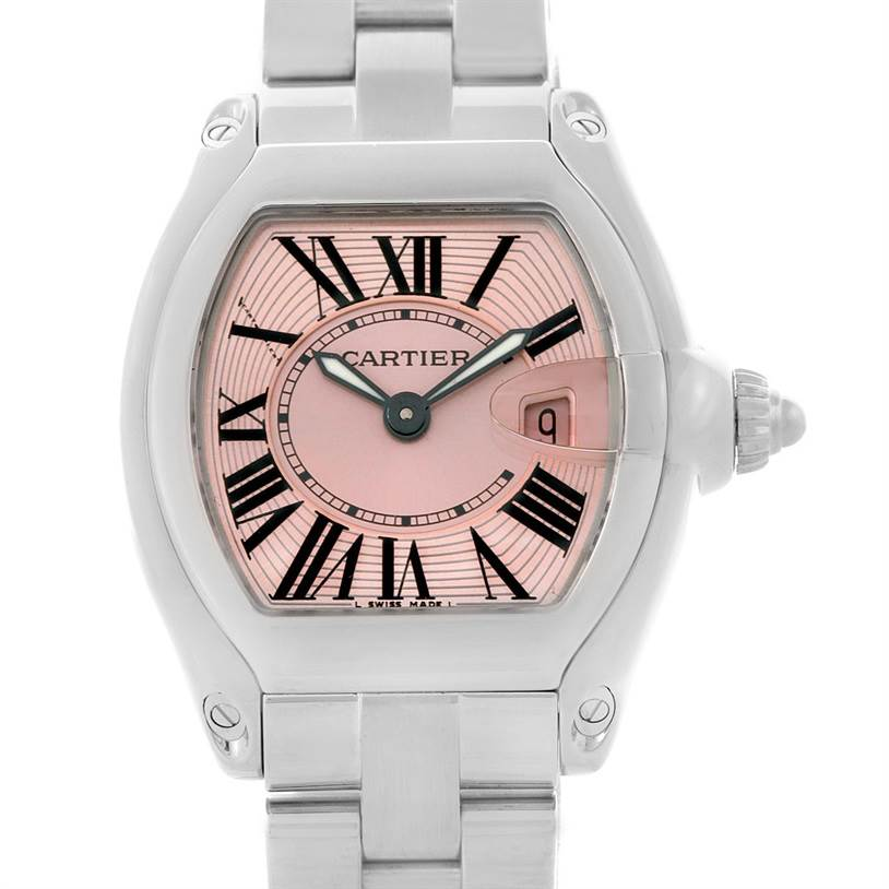 7381 Cartier Roadster Ladies Pink Dial Watch W62017V3 SwissWatchExpo