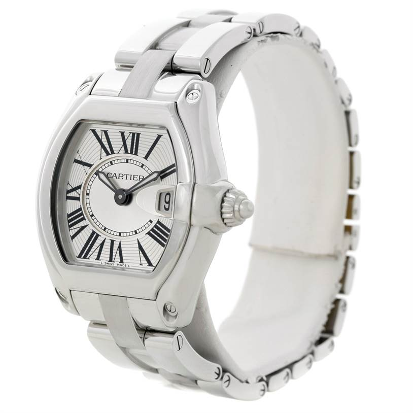 8579 Cartier Roadster Silver Dial Ladies Steel Watch W62016V3 SwissWatchExpo