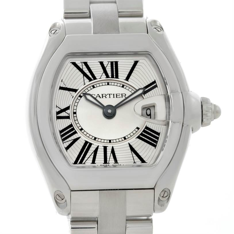 8580 Cartier Roadster Silver Dial Ladies Steel Watch W62016V3 SwissWatchExpo