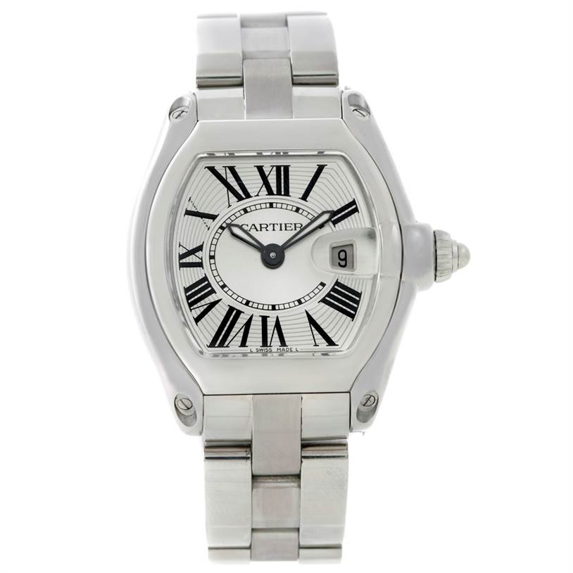 6986 Cartier Roadster Silver Dial Ladies Steel Watch W62016V3 SwissWatchExpo