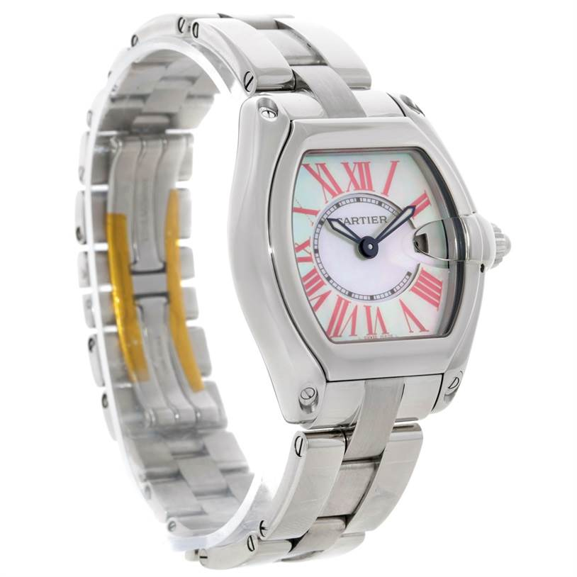 8859 Cartier Roadster Small Mother of Pearl Dial Steel Watch W6206006 SwissWatchExpo