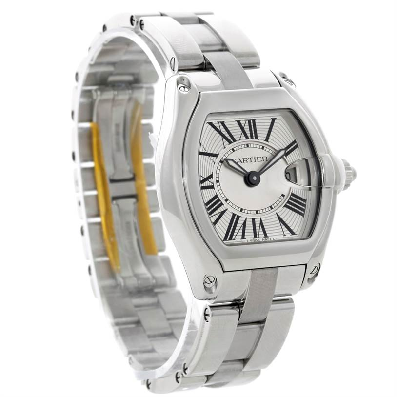 8860 Cartier Roadster Silver Dial Ladies Steel Watch W62016V3 SwissWatchExpo