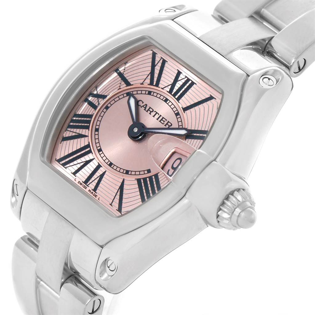 7671 Cartier Roadster Ladies Pink Dial Watch W62017V3 SwissWatchExpo