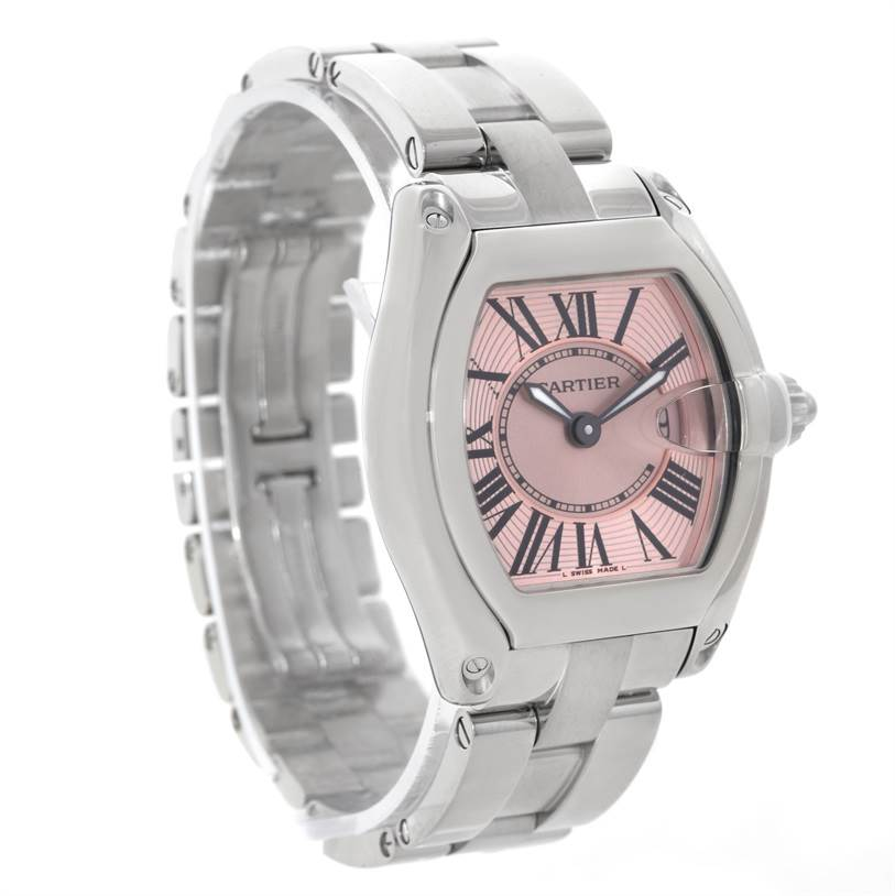 7615X Cartier Roadster Ladies Pink Dial Watch W62017V3 SwissWatchExpo