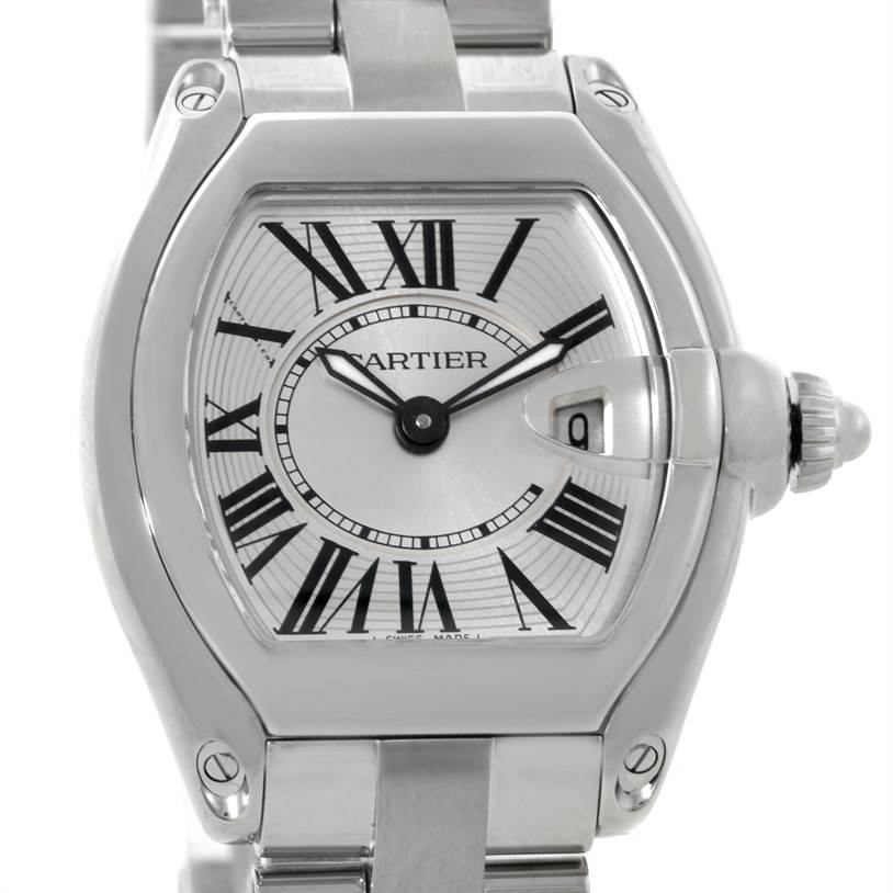 7469 Cartier Roadster Silver Dial Ladies Steel Watch W62016V3 SwissWatchExpo