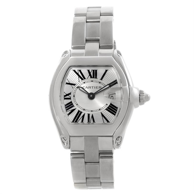 8007 Cartier Roadster Silver Dial Ladies Steel Watch W62016V3 SwissWatchExpo