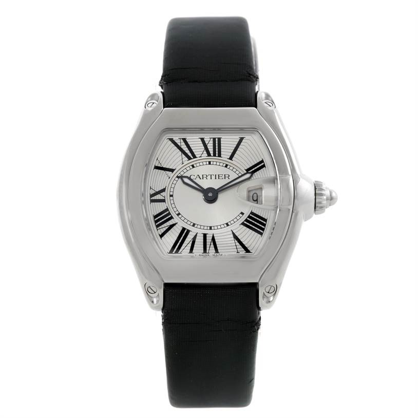 7770 Cartier Roadster Silver Dial Ladies Steel Watch W62016V3 SwissWatchExpo