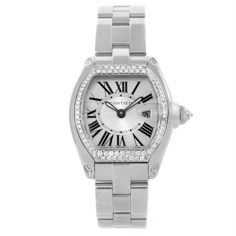 9087 Cartier Roadster Silver Dial Ladies Steel Diamond Watch W62016V3 SwissWatchExpo