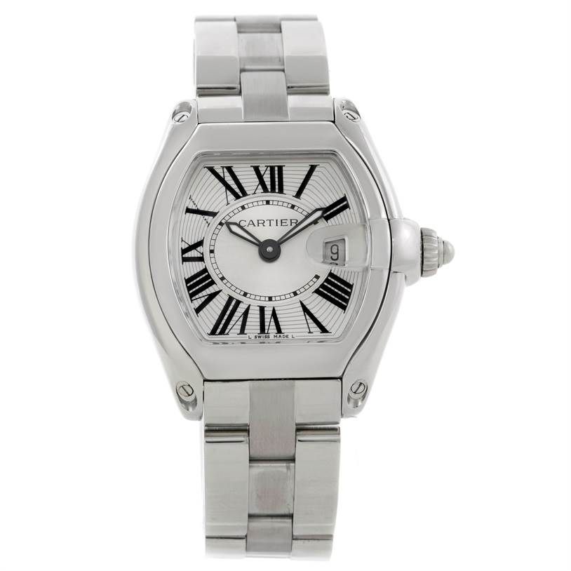9080 Cartier Roadster Silver Dial Ladies Steel Watch W62016V3 SwissWatchExpo