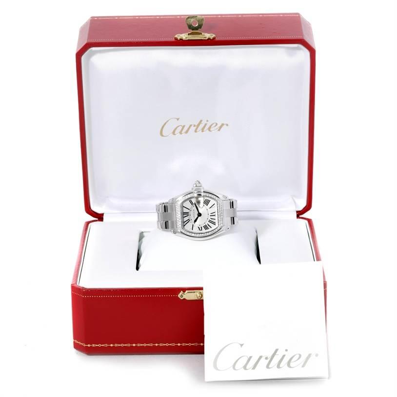 9325 Cartier Roadster 18K White Gold Diamond Ladies Watch WE5002X2 SwissWatchExpo