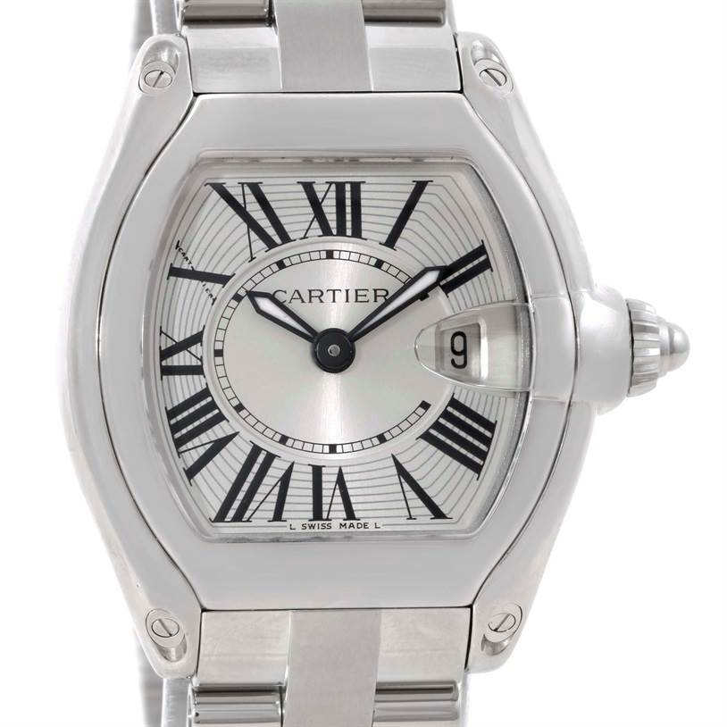 9509 Cartier Roadster Silver Dial Ladies Small Steel Watch W62016V3 SwissWatchExpo