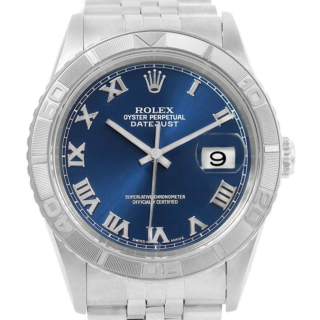 14985 Rolex Turnograph Datejust Steel 18K White Gold Blue Dial Watch 16264 SwissWatchExpo