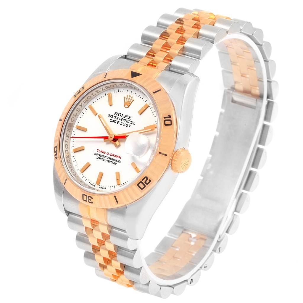 15116 Rolex Turnograph Datejust Steel Rose Gold Watch 116261 Box Papers SwissWatchExpo