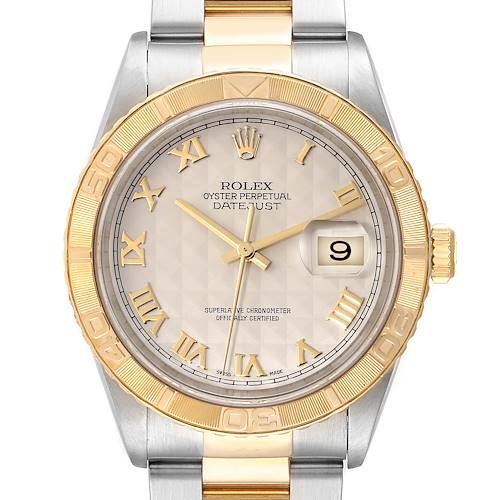 Photo of Rolex Datejust Turnograph Steel Yellow Gold Pyramid Dial Watch 16263