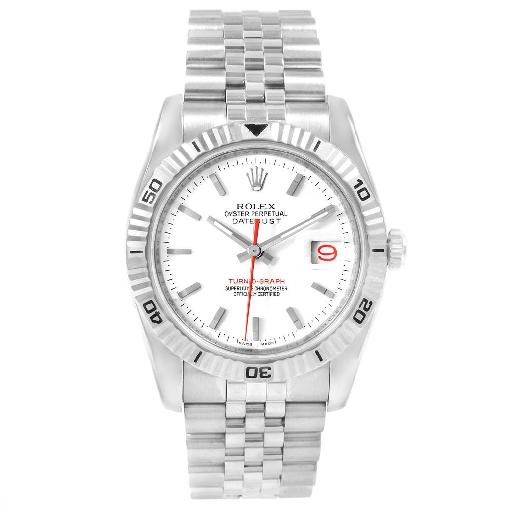 21712 Rolex Datejust Turnograph Steel 18K White Gold Bezel Mens Watch 116264 SwissWatchExpo