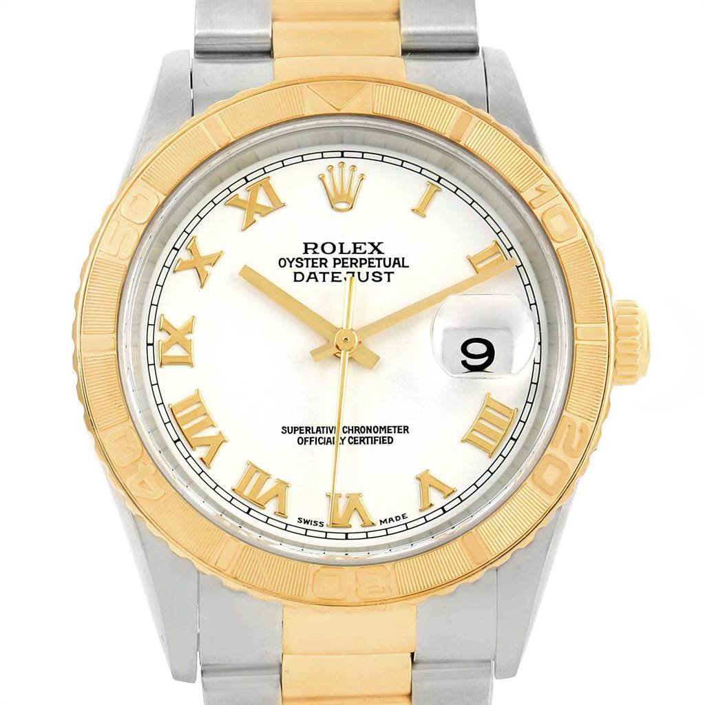 21705 Rolex Datejust Turnograph Steel Yellow Gold White Dial Mens Watch 16263 SwissWatchExpo