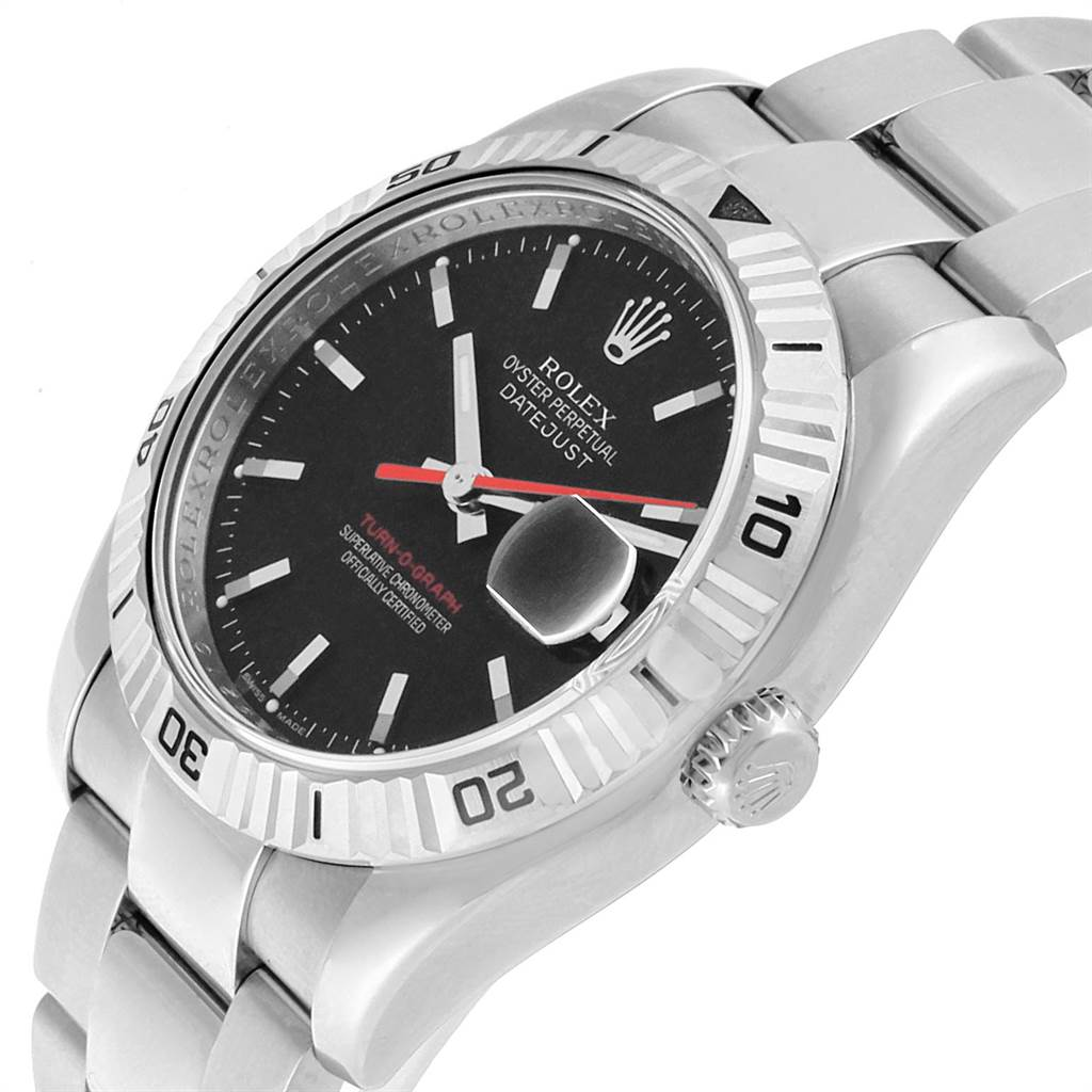 22436 Rolex Datejust Turnograph Black Dial Red Hand Steel Mens Watch 116264 SwissWatchExpo