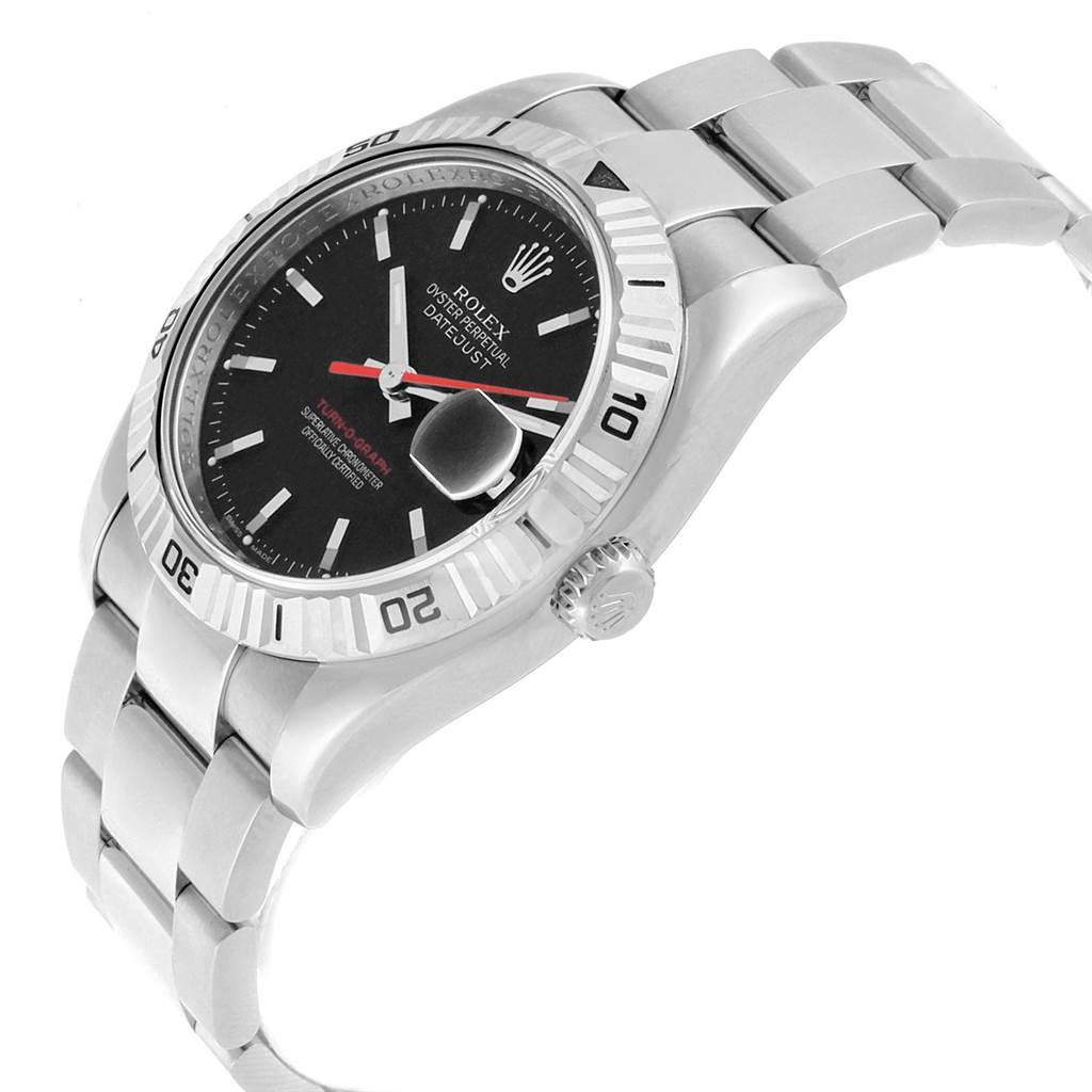 22539 Rolex Datejust Turnograph Black Dial Red Hand Steel Mens Watch 116264 SwissWatchExpo