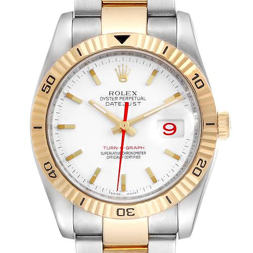 Photo of Rolex Datejust Turnograph Steel Yellow Gold Red Hand Mens Watch 116263