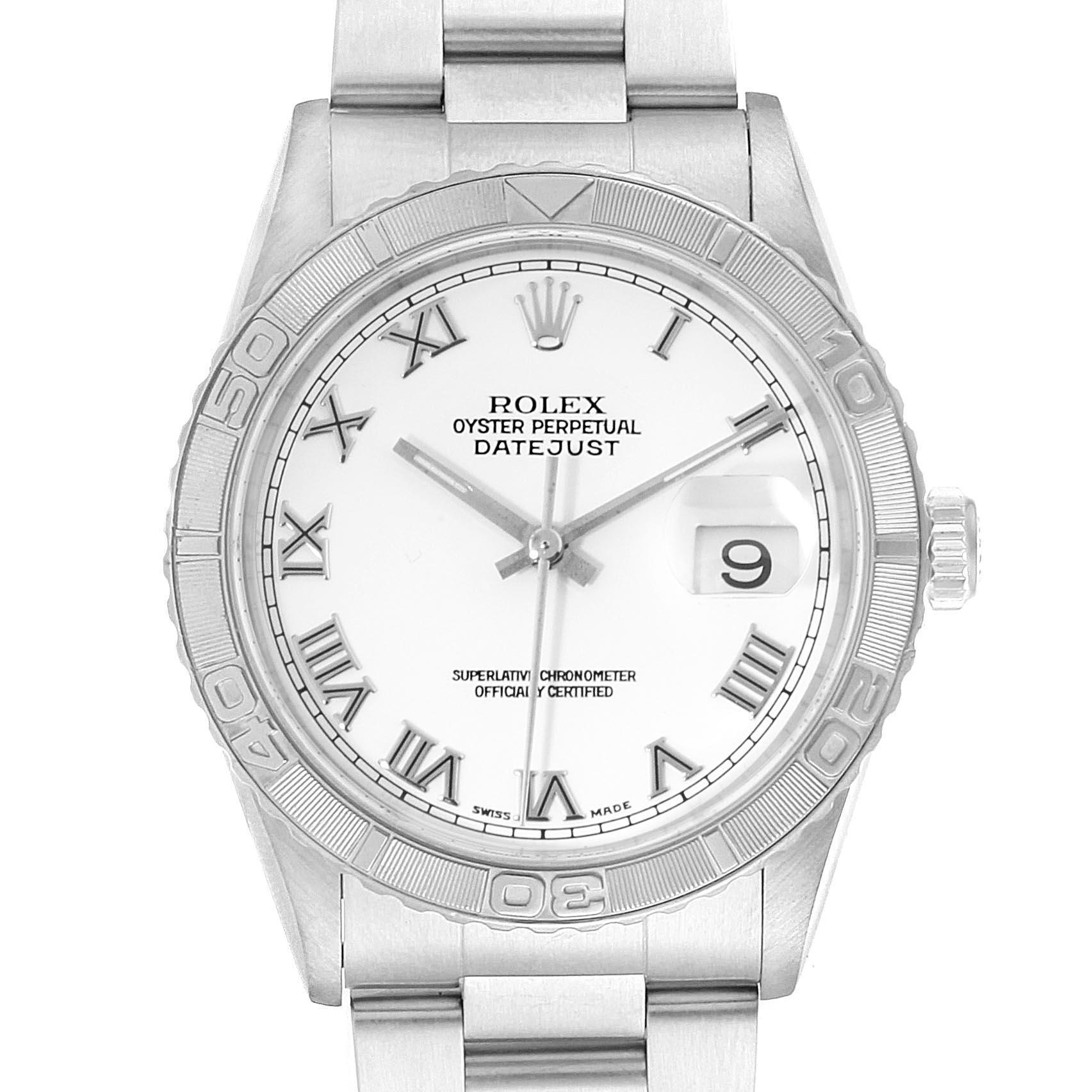 Rolex Turnograph Datejust Steel White Gold Steel Mens Watch 16264
