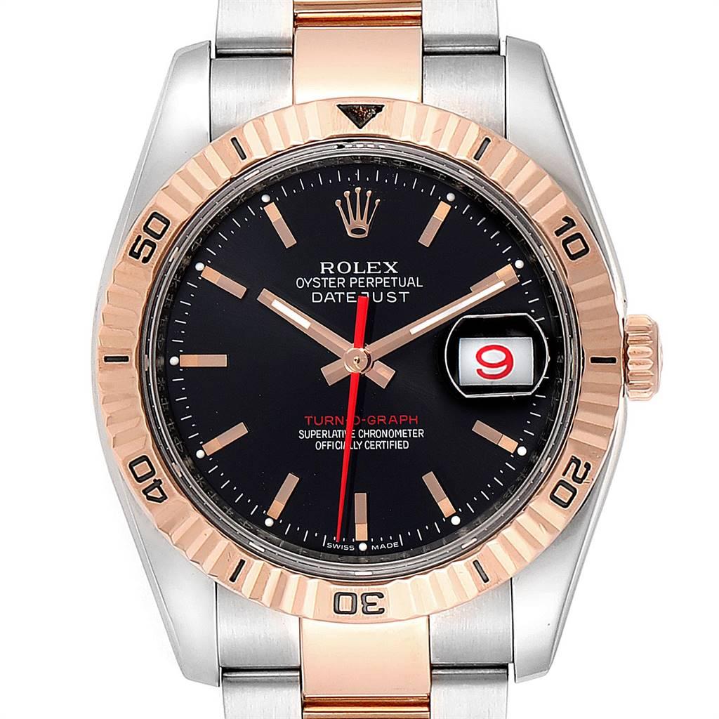 Rolex Thunderbird Turnograph Steel Rose Gold Black Dial Watch 116261