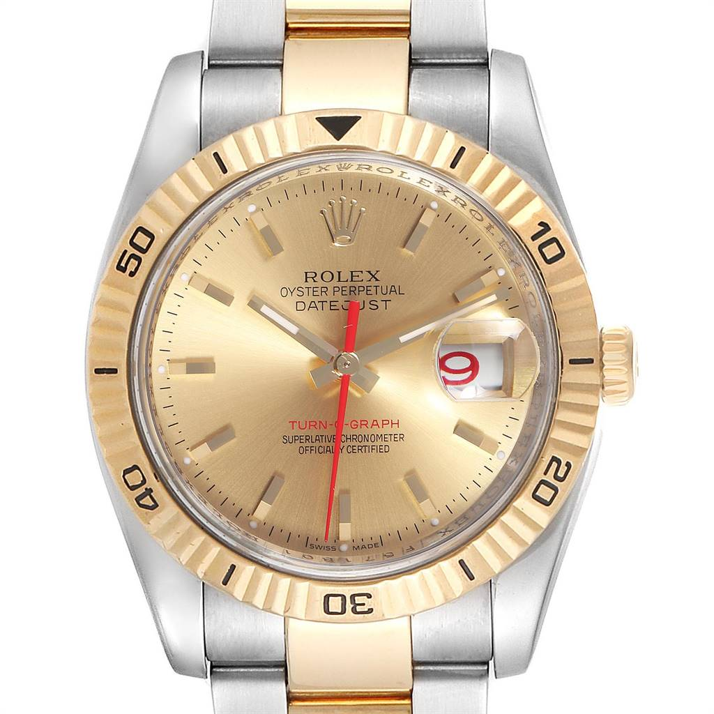Rolex Datejust Turnograph 36mm Steel Yellow Gold Mens Watch 116263