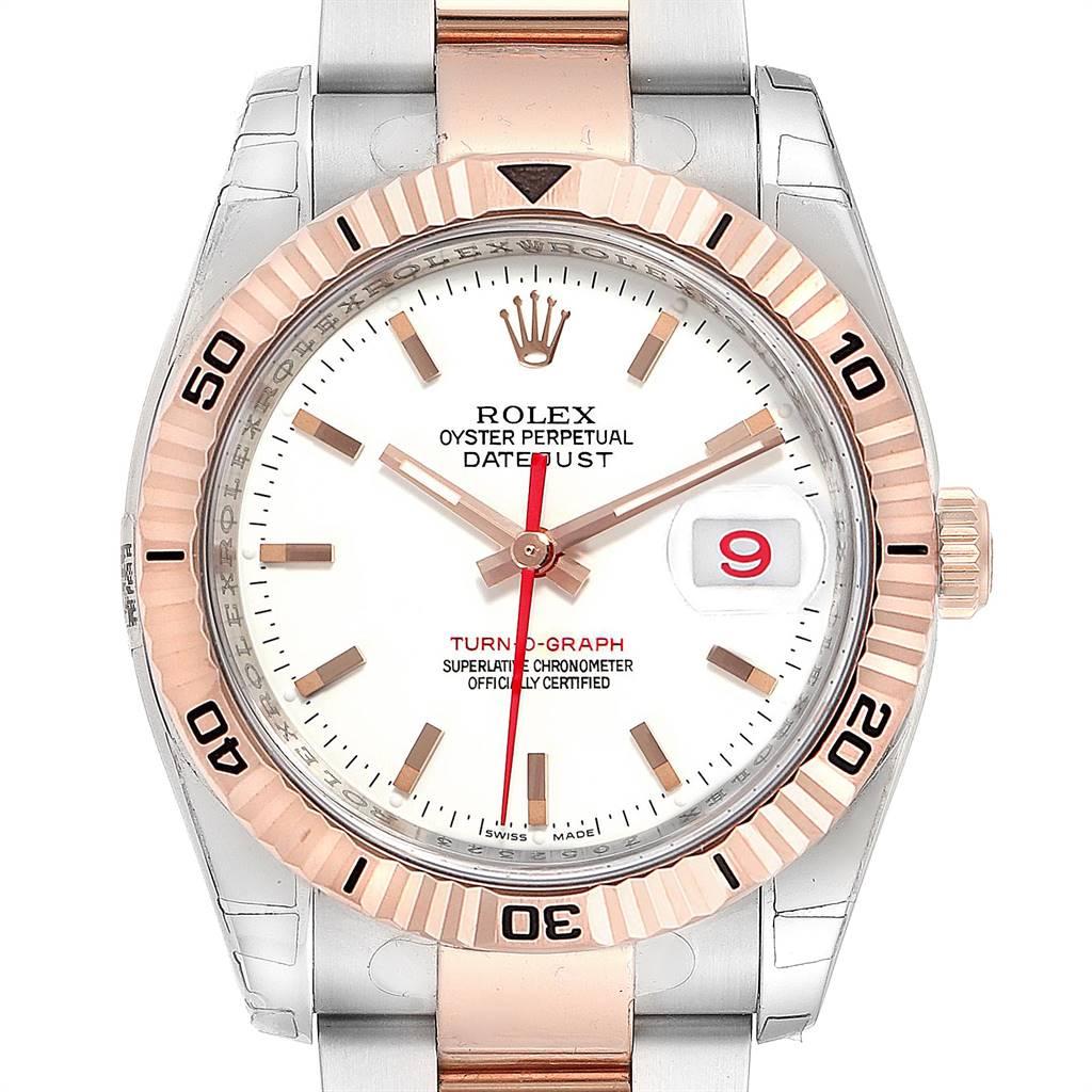 Rolex Turnograph Datejust Steel Rose Gold Black Dial Watch 116261 Unworn